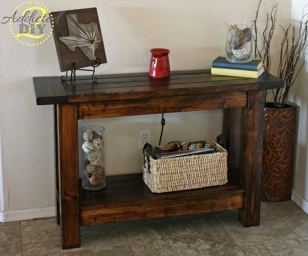 Pottery barn inspired console table addicted 2 diy for Entry wall table