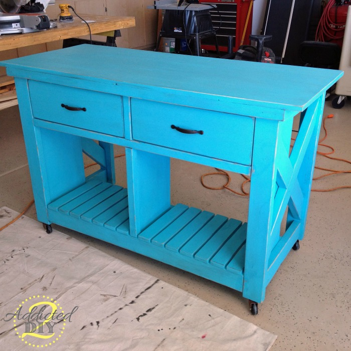 Double Rustic X Kitchen Island Turned Craft Table