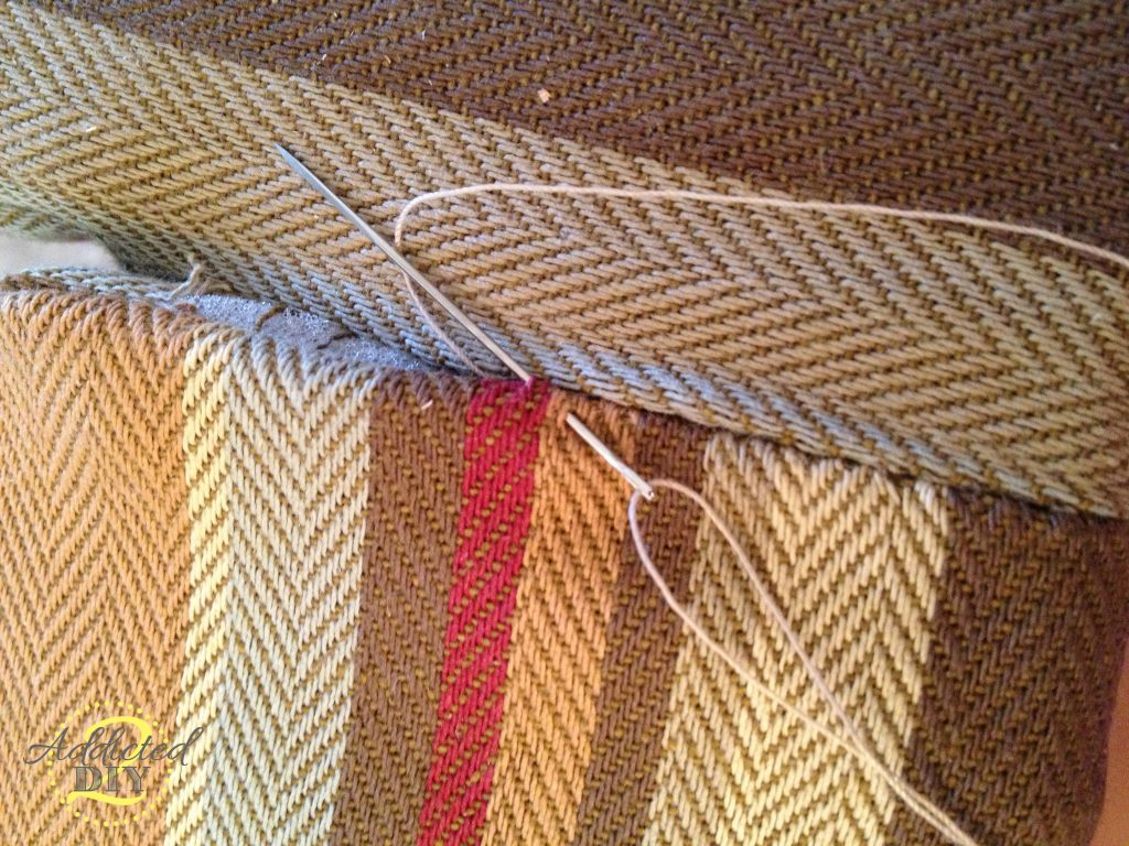 sewing whipstitch on upholstery