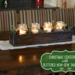 Christmas Centerpiece with Glittered No-Sew Table Runner