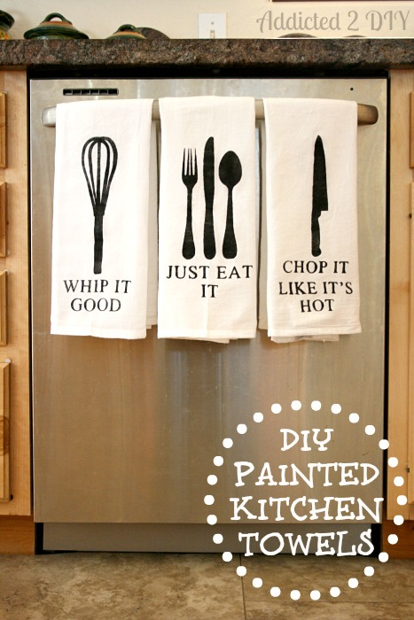diy painted kitchen towels with free svg files addicted 2 diy