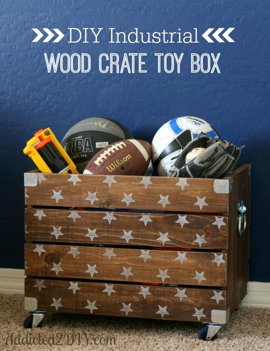 DIY Industrial Wood Crate Toy Box | Addicted 2 DIY