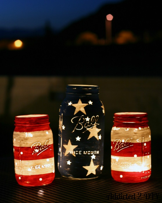patriotic mason jar lanterns addicted 2 diy With what kind of paint to use on kitchen cabinets for cheap tea light candle holders