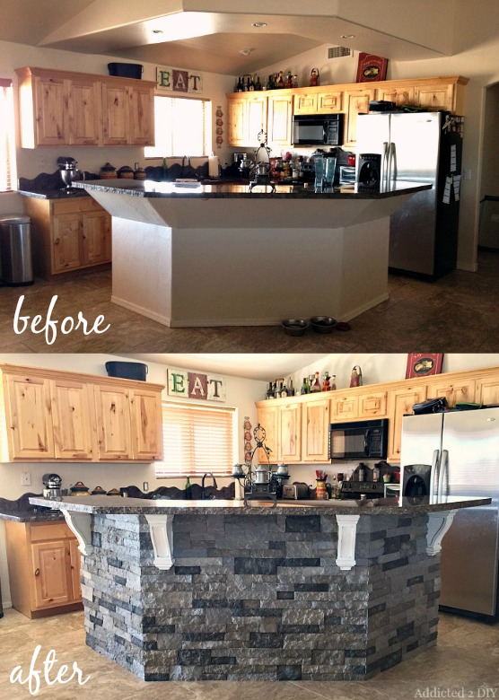 Before and after diy kitchen island makeover addicted 2 diy - Awesome kitchen from stone more cheerful ...