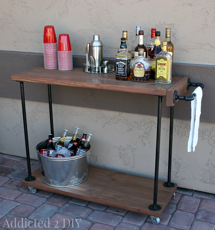 diy rustic industrial bar cart addicted 2 diy. Black Bedroom Furniture Sets. Home Design Ideas