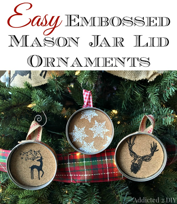 Mason Jar Christmas Decorations: Easy Embossed Mason Jar Lid Ornaments
