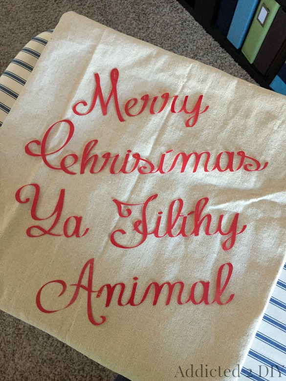 Funny Christmas Movie Quote Pillow {Plus the Easiest Pillow You'll Ever Make!}