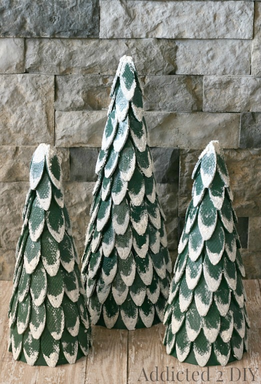 Snow-Capped Wood Biscuit Christmas Trees