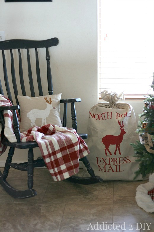 Stenciled Santa Sack and Christmas Pillow
