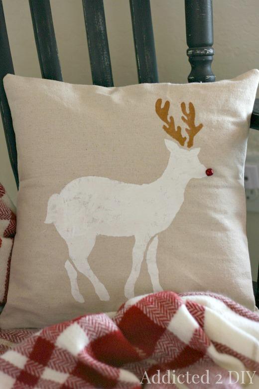 Stenciled Santa Sack and Christmas Pillow