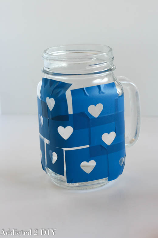 Glittered Heart Mason Jar Tumblers - Valentine's Day Gift Idea