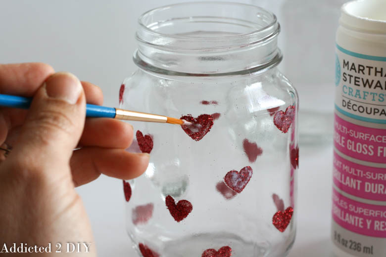 Glittered Heart Mason Jar Tumblers Addicted 2 Diy