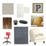 Navy, Yellow and Red Den/Office Makeover