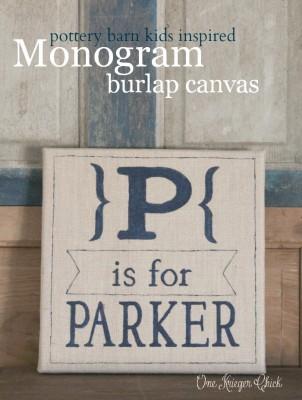 Monogram-burlap-canvas-Pottery-Barn-Kids-inspired