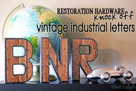 blue i style - RestorationHardwareVintageIndustrialLettersKnockOff