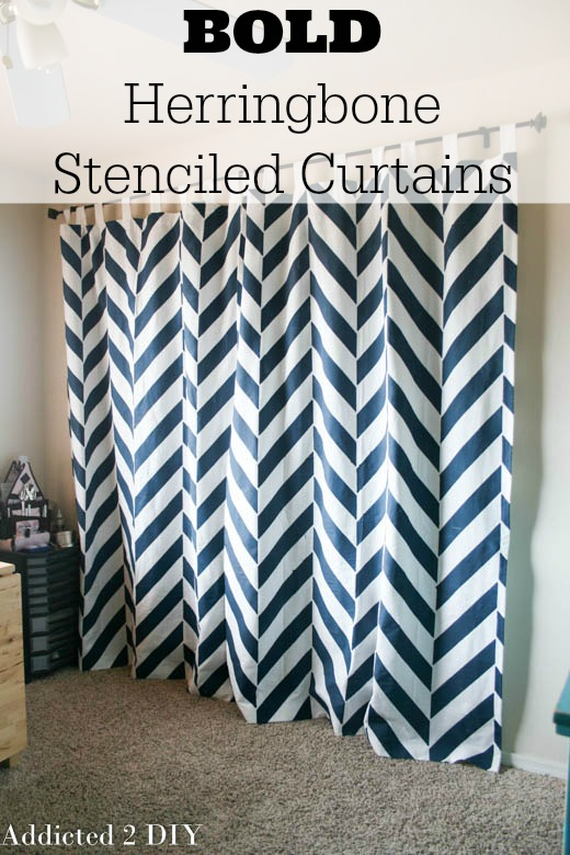 Bold Herringbone Stenciled Curtains