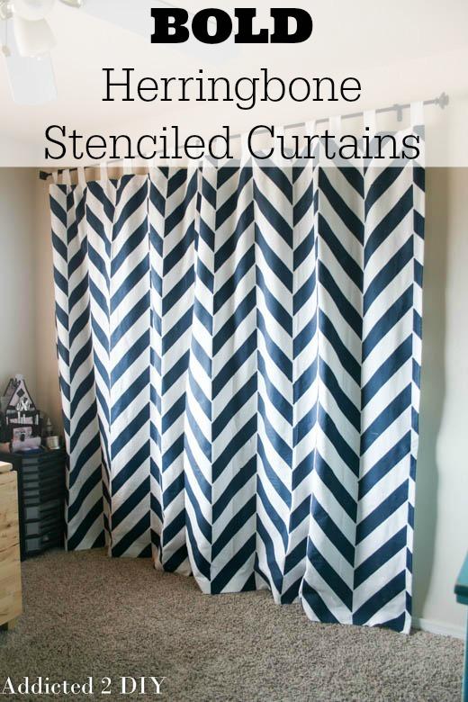 Bold Herringbone Stenciled Curtains