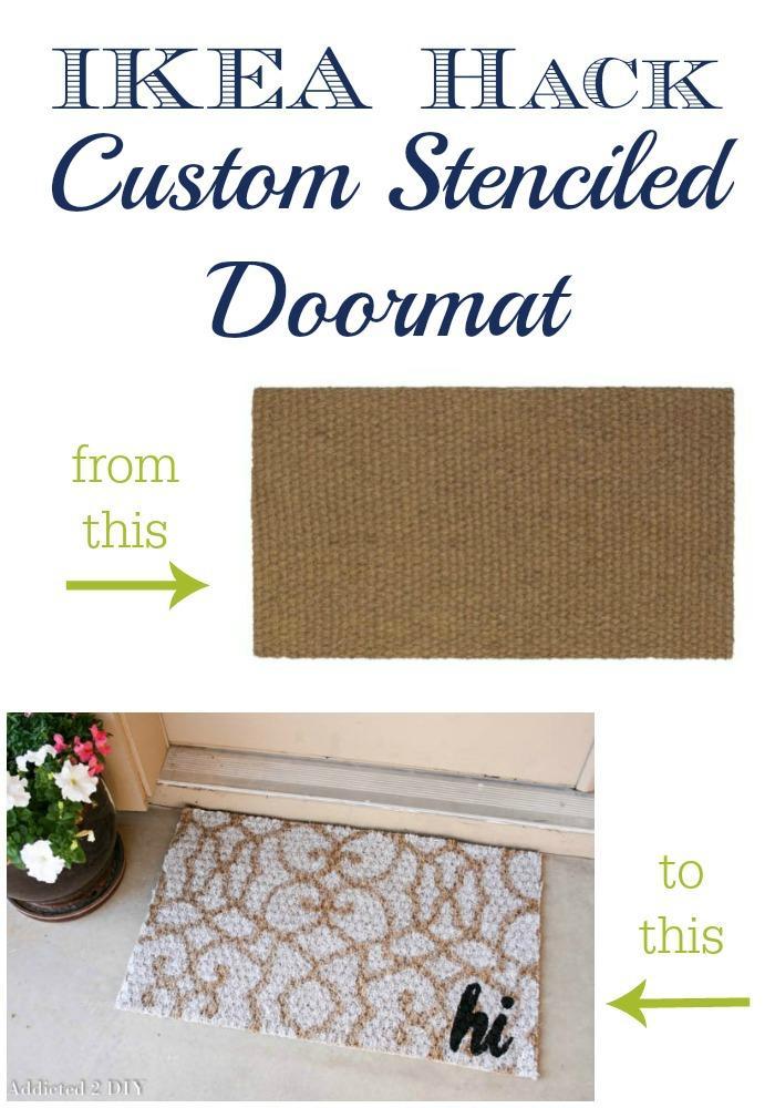 IKEA Hack Stenciled Doormat