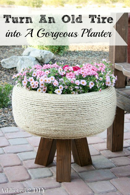 Turn an old tire into a gorgeous planter addicted 2 diy turn an old tire into a gorgeous planter solutioingenieria Images
