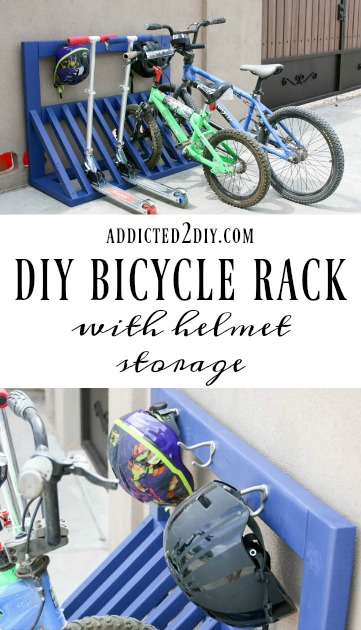 Diy bicycle rack Hanging Simple Diy Bicycle Rack Addicted Diy Simple Diy Kids Bicycle Rack With Helmet Storage Addicted Diy