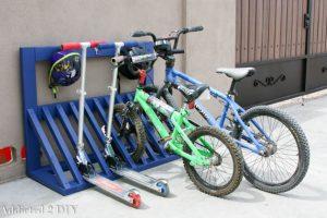Simple DIY Kid's Bicycle Rack with Helmet Storage