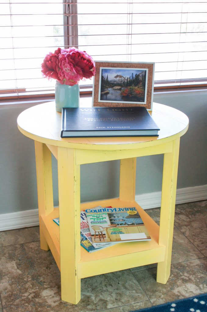 Pottery barn inspired rustic side table addicted 2 diy for Diy barn table