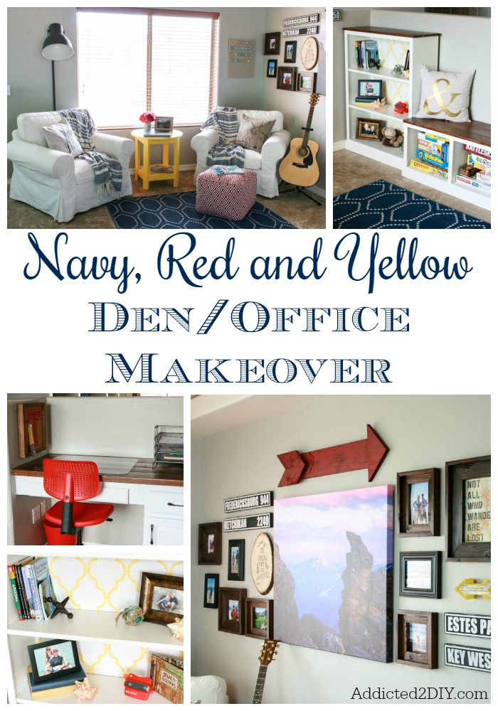 Navy, Red and Yellow Den/Office Makeover