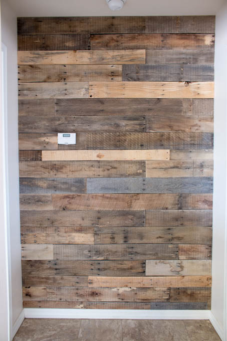 The finished wall looks better than I even imagined! I find myself staring  at it every time I walk by. It adds so much dimension to this hallway and  ... - How To Install A Pallet Wall The Easy Way - Addicted 2 DIY