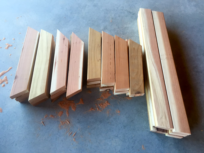 cutting wood for base of bench