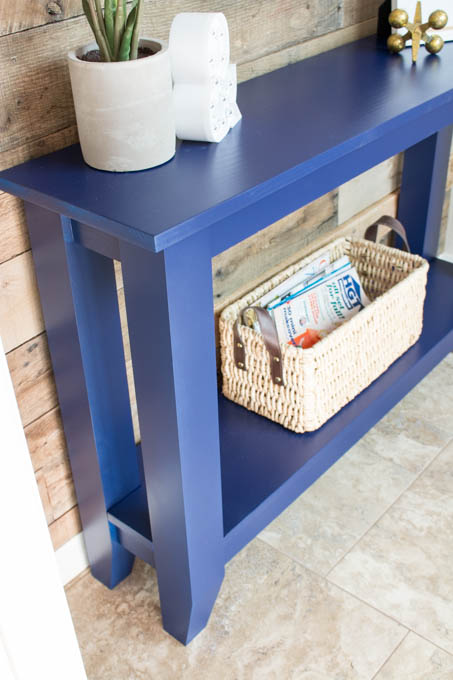 This is a perfect weekend project! This DIY Narrow Hallway Table fits in any space where you want low-profile furniture. Free plans are included in the tutorial!