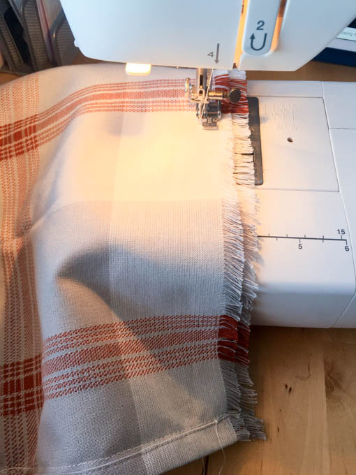 sew towel into pillow