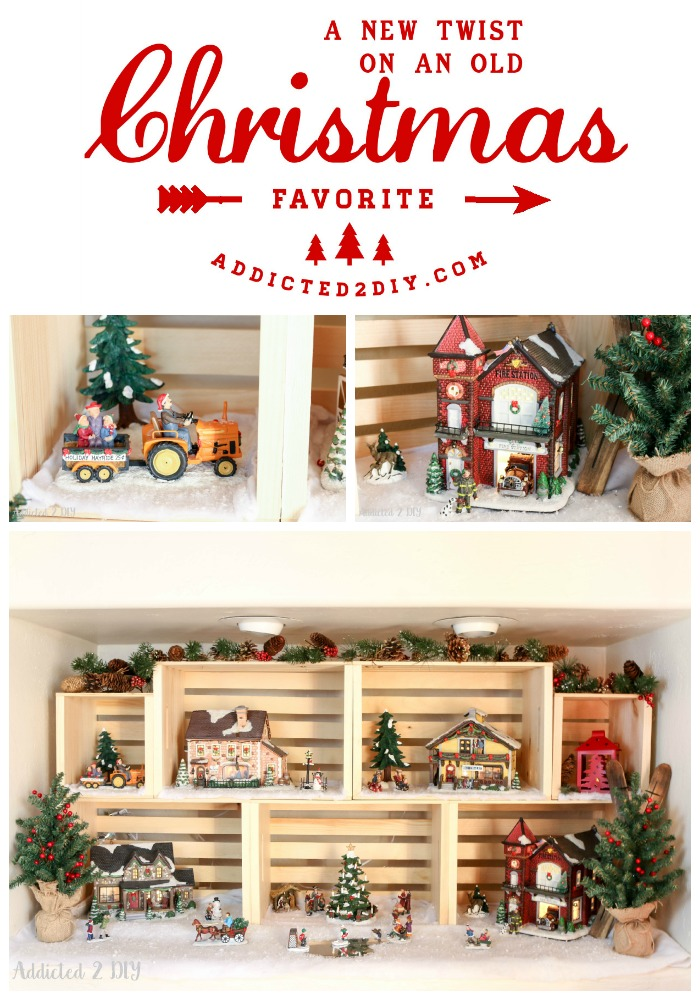 Give your traditional Christmas village a new look and utilize vertical space with crates!  They are also a great way to decorate year round!