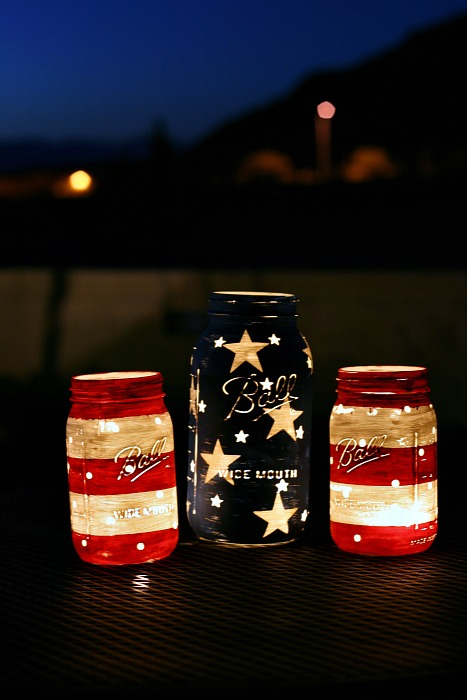Patriotic Mason Jars - Night