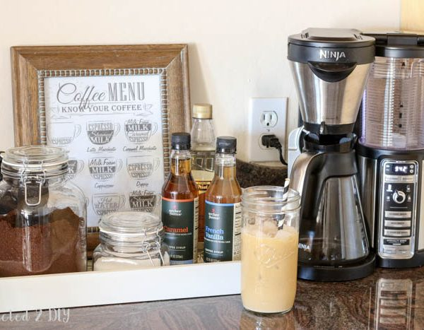 This simple coffee station is quick and easy to put together and the new Ninja Coffee Bar takes it over the top!
