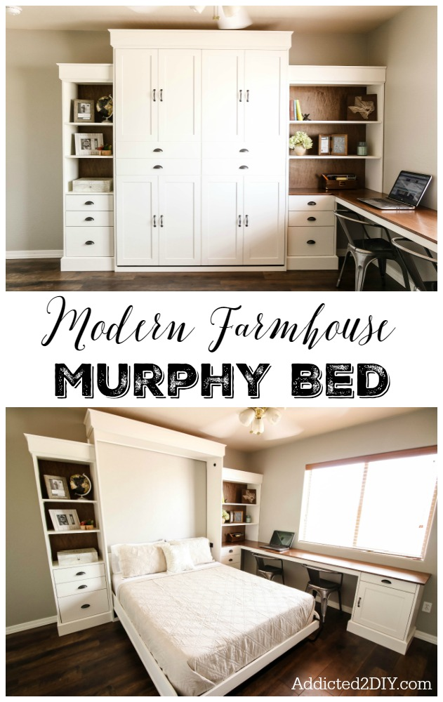 DIY Modern Farmhouse Murphy Bed - How To Build the Bed and Bookcase ...