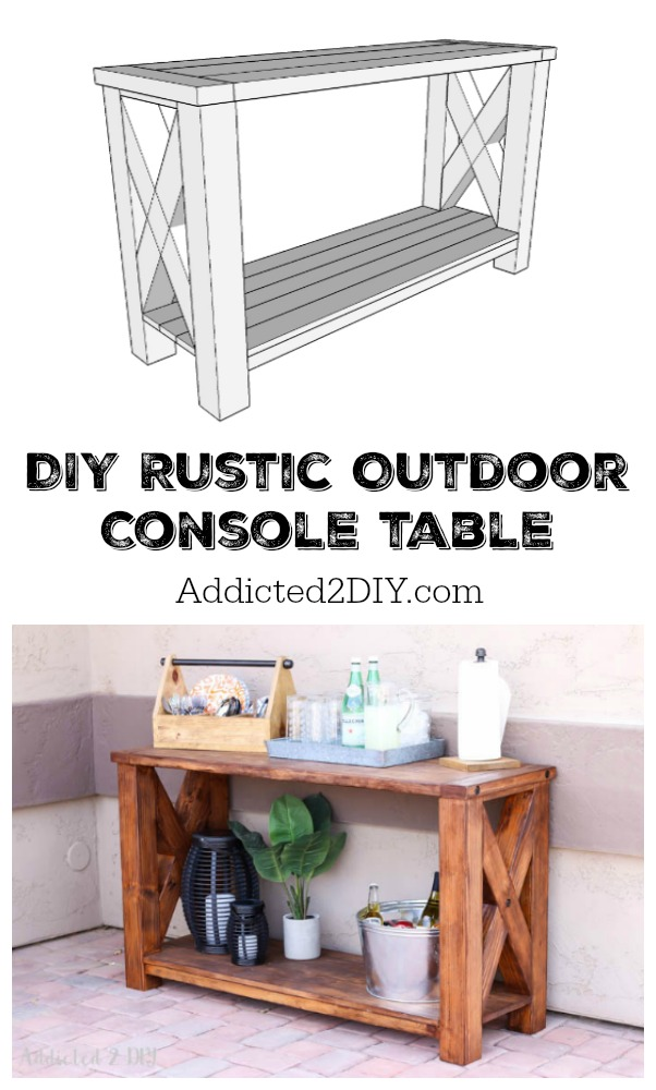 Vertical Console Table ~ Diy rustic outdoor console table great outdoors