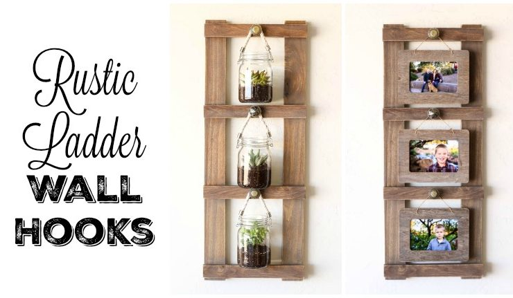 Rustic Ladder Wall Hooks