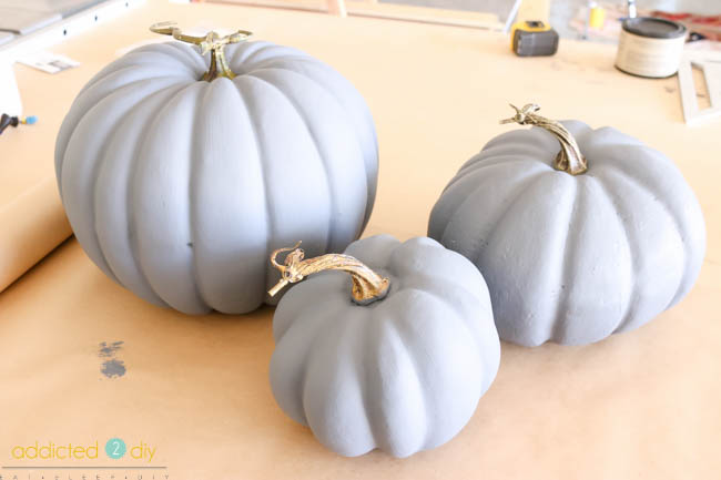 Painted Faux Galvanized Pumpkins