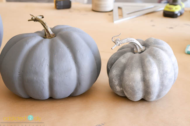 Faux Galvanized Pumpkin before and after