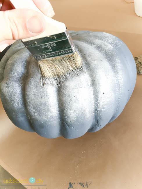 Painting Faux Pumpkins