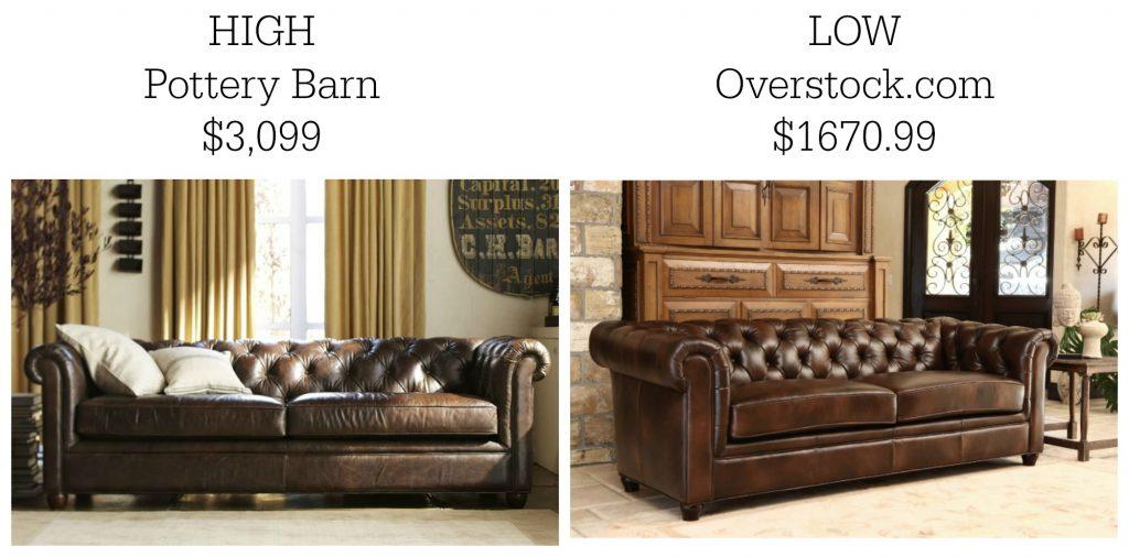 High priced vs low priced sofas