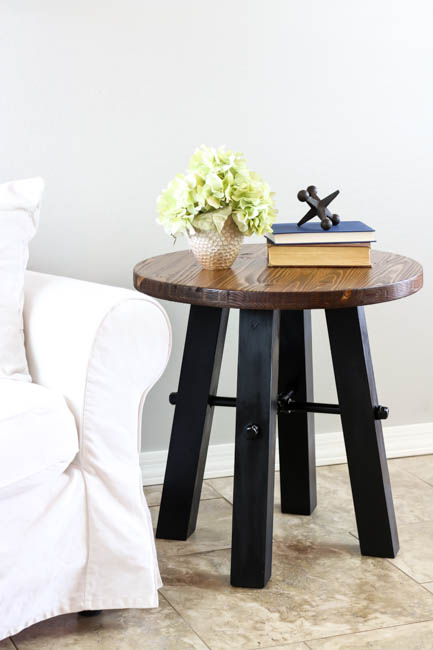 DIY Rustic Industrial Side Table with Plans