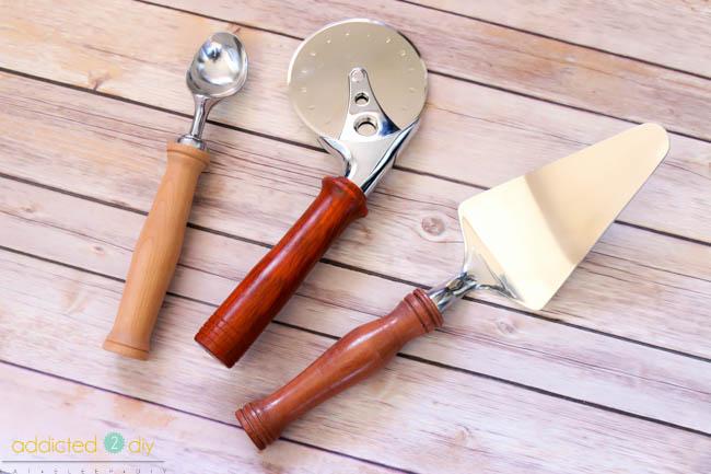 wood turned kitchen tools