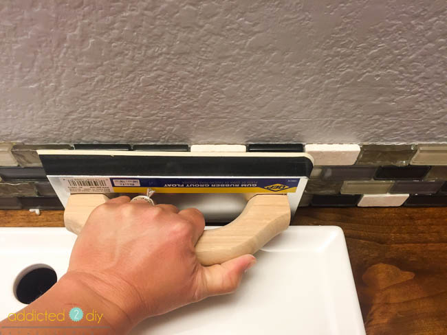 installing backsplash in bathroom