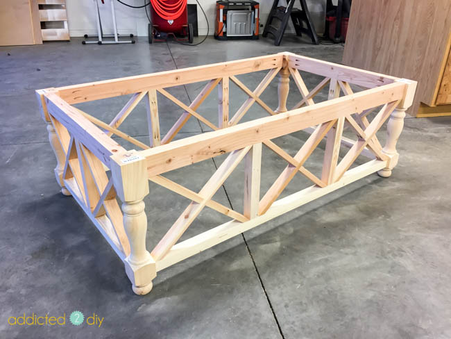 diy x panel coffee table - setting the x pieces