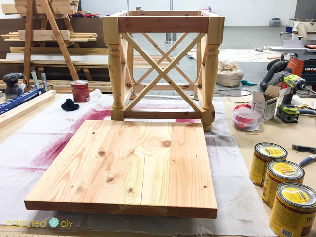 diy side table - layering stains