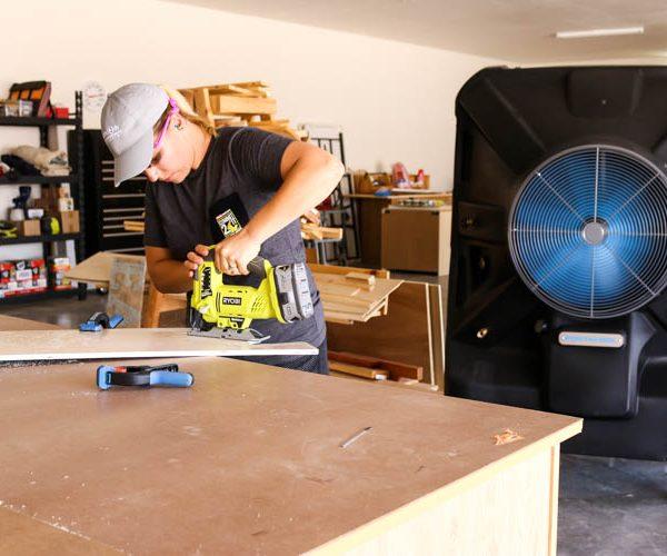 portacool in diy workshop