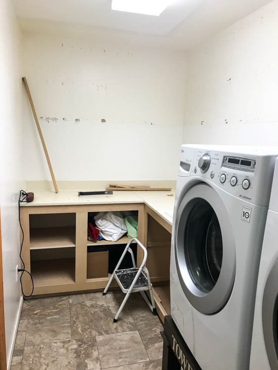 laundry room remodel kitchen the first thing we did was tear out the old cabinets that in itself quite that ask as they were nailed to wall about bazillion times modern farmhouse laundry room remodel addicted diy