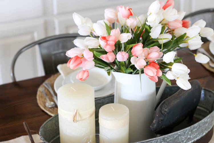 centerpiece with faux tulips