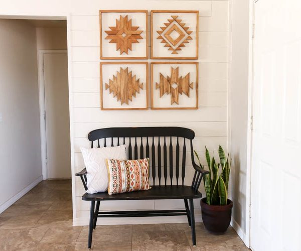 how to build DIY aztec wall art